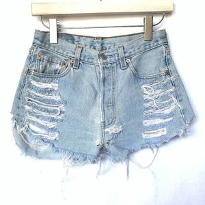 Levi's 501 Light Wash Distressed Button Fly Shorts